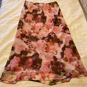 CATO, Women's Pink/Brown Floral Maxi skirt